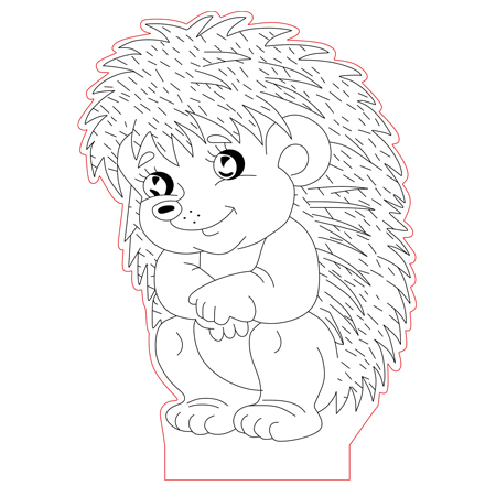Sitting Hedgehog 3d Illusion Lamp Vector File
