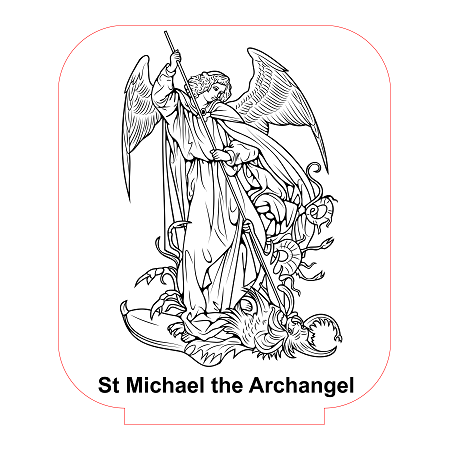 St michael the archangel 2 3d illusion lamp vector file for Archangel michael coloring page