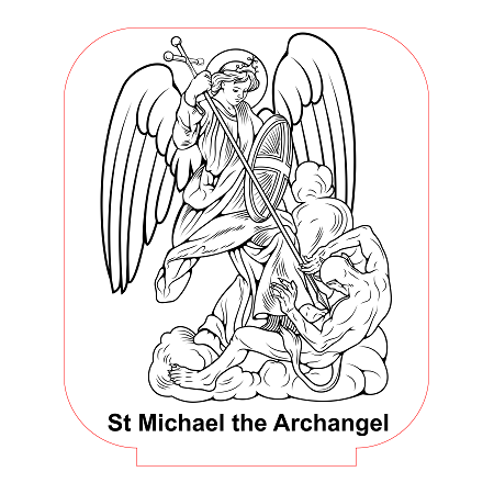 St michael the archangel 3d illusion lamp vector file for for Archangel michael coloring page