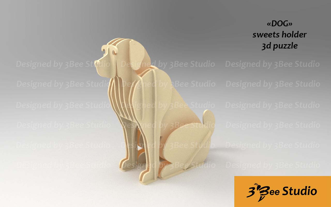 Dog sweets holder 3d puzzle plan vector file