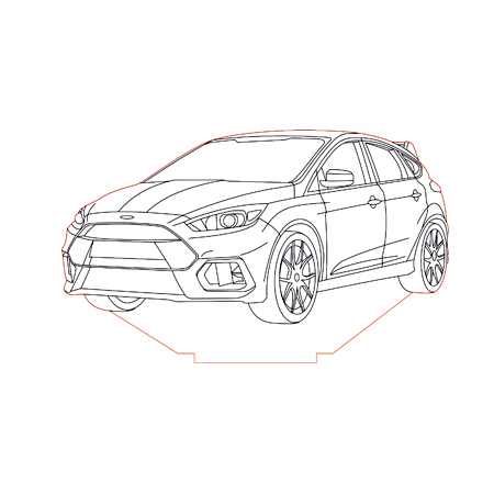 Ford Focus Rs 2016 3d Illusion Lamp Plan Vector File