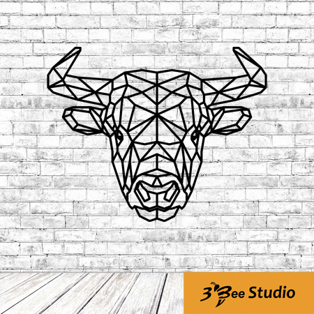Geometric Bull Head Wall Art Plan Vector File