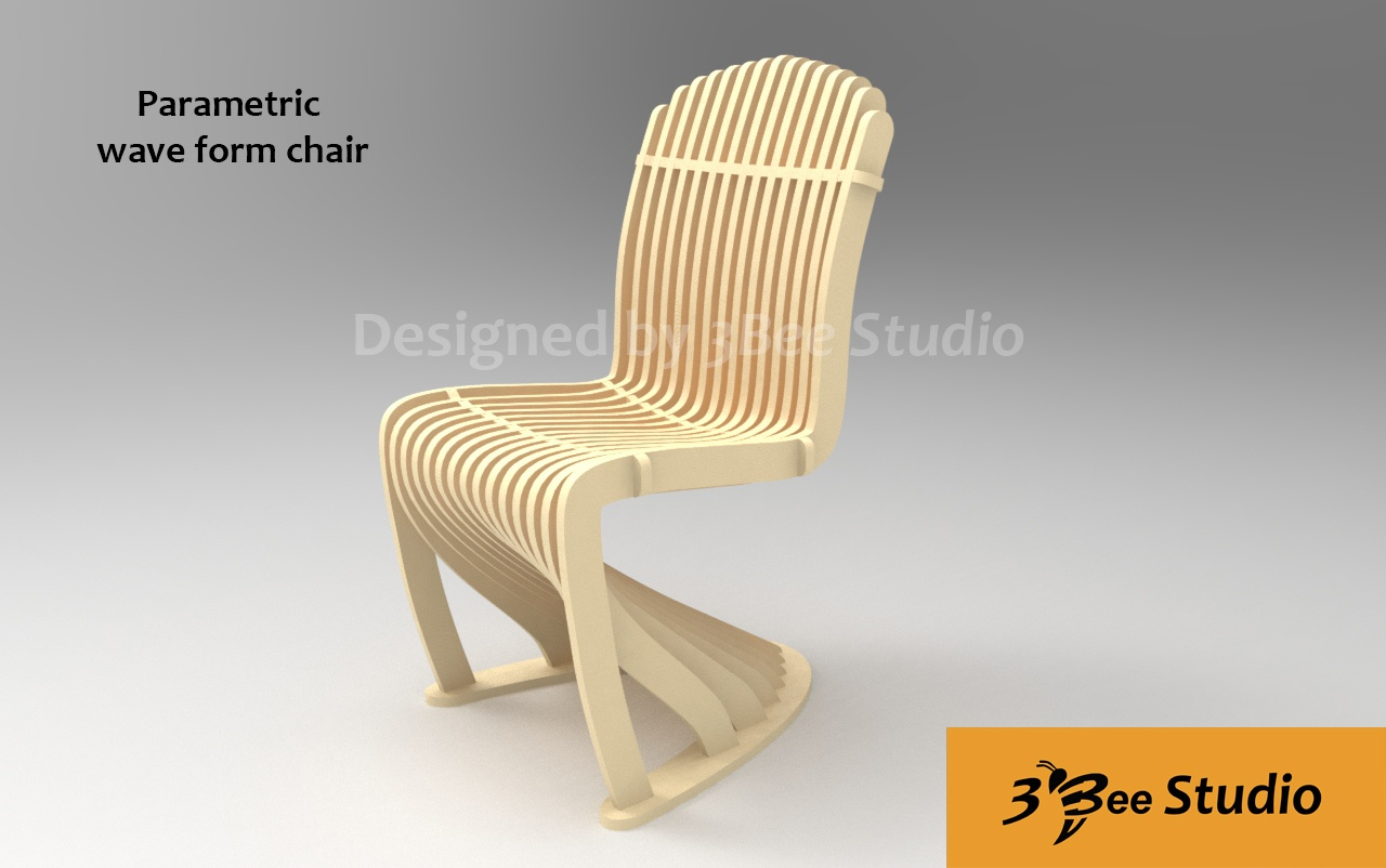 Parametric Wave Chair Plan Vector File For Cnc 3bee Studio