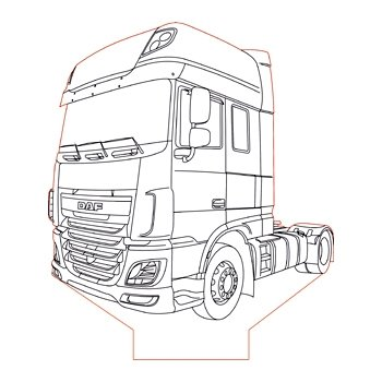 daf xf 106 truck 3d illusion l plan vector file for cnc