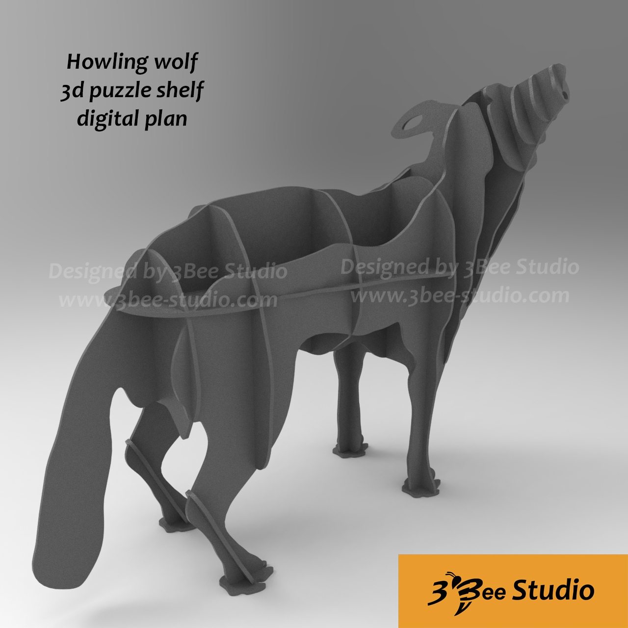 Howling wolf shelf 3d puzzle plan vector file