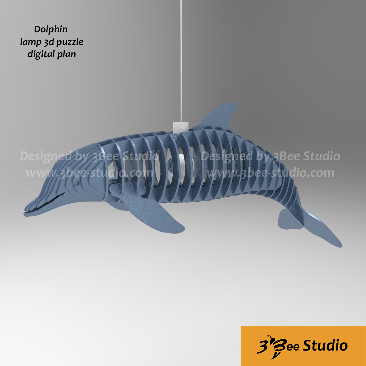 Dolphin lamp 3d puzzle plan vector file