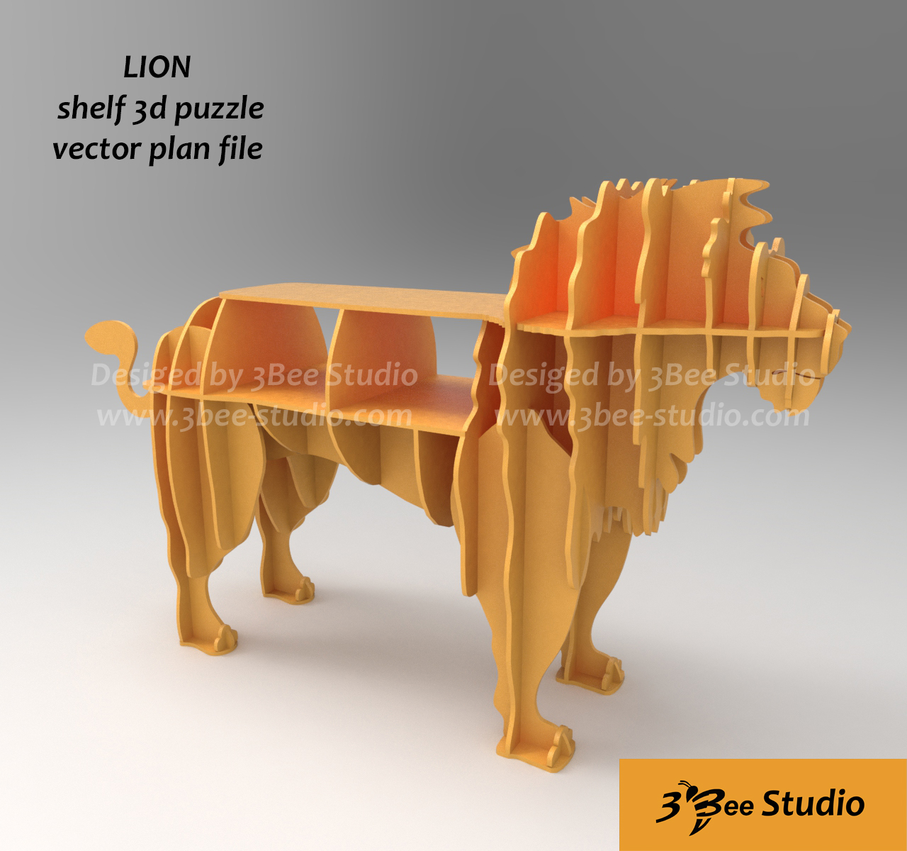 Lion shelf 3d puzzle plan vector file ...