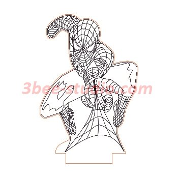 Spiderman night light dxf file for cnc